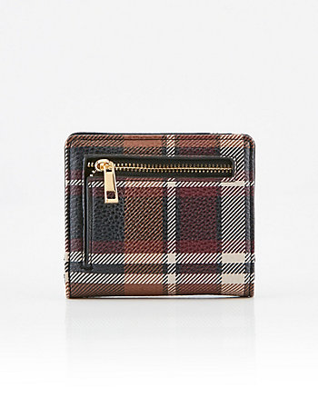 Check Print Pebbled Faux Leather Wallet