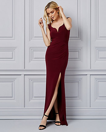 Knit V-Neck Cap Sleeve Gown