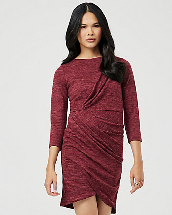 Knit Pleat Neck Wrap-Like Dress