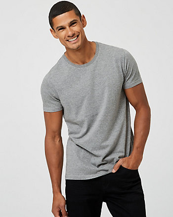 Cotton Blend Crew Neck Semi-Fitted T-Shirt