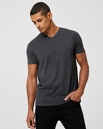 Cotton Slub V-Neck Semi-Fitted T-Shirt