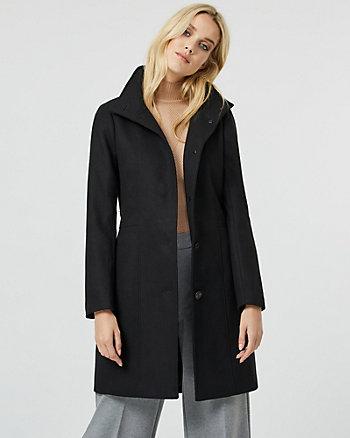 Manteau à col montant d'aspect cachemire