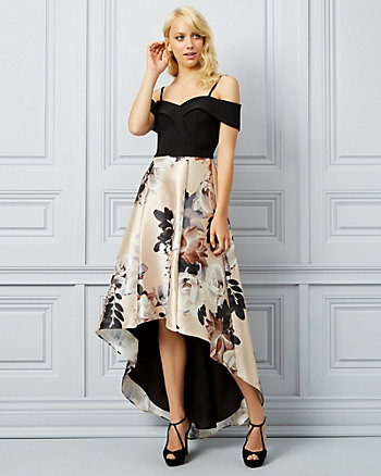 Floral Print Cold Shoulder High-Low Gown