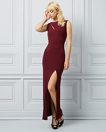 Knit Boat Neck Cutout Gown