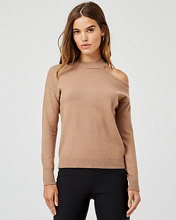 Viscose Blend Mock Neck Cutout Sweater