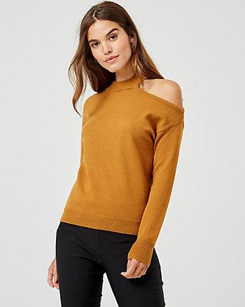 Viscose Blend Mock Neck Cutout Sweater