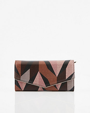 Abstract Print Faux Leather Crossbody Wallet