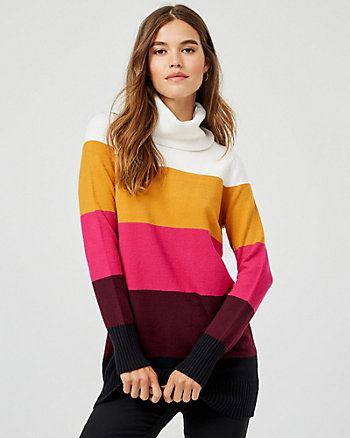 Stripe Knit Turtleneck Sweater