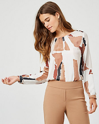 Abstract Print Matte Satin Crew Neck Blouse