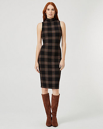 Check Print Ponte Knit Mock Neck Dress