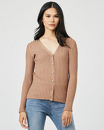 Rib Knit Button-Front Cardigan