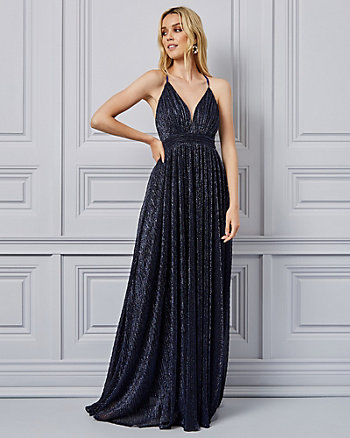 Metallic Knit & Mesh Fit & Flare Gown