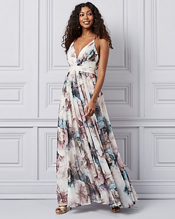 Floral Print Knit V-Neck Gown