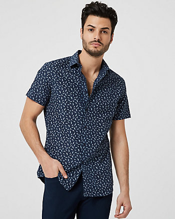 Feather Print Cotton Blend Shirt