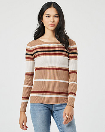 Stripe Rib Knit Crew Neck Sweater
