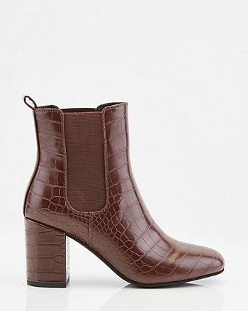 Croco Embossed Faux Leather Square Toe Boot