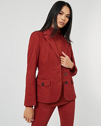 Cotton Blend Notch Collar Blazer