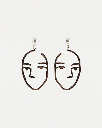 Face Silhouette Drop Earrings