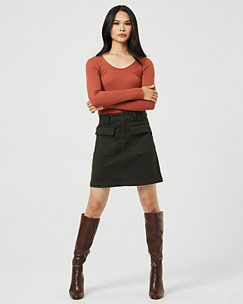 Cotton Blend Button-Front Mini Skirt