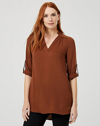 Crêpe de Chine V-Neck Tunic Blouse
