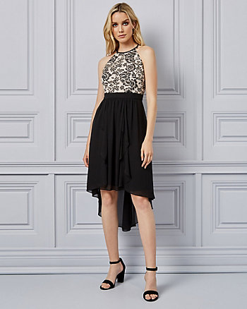 Lace & Chiffon Halter Neck Dress
