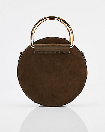 Faux Suede Circular Crossbody Bag