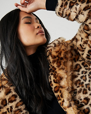 Leopard Print Faux Fur Open-Front Coat