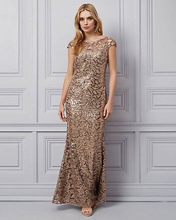 Embroidered Lace & Sequin Illusion Gown