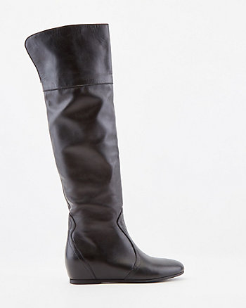 Italian-Made Leather Wedge Boot