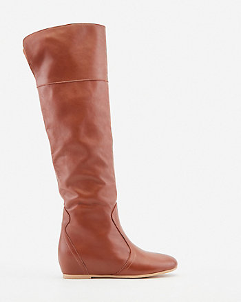 Italian-Made Leather Wedge Boot