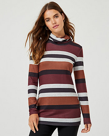 Stripe Rib Knit Cowl Neck Tunic Top