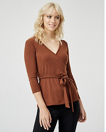 Rib Knit Wrap-like V-Neck Top