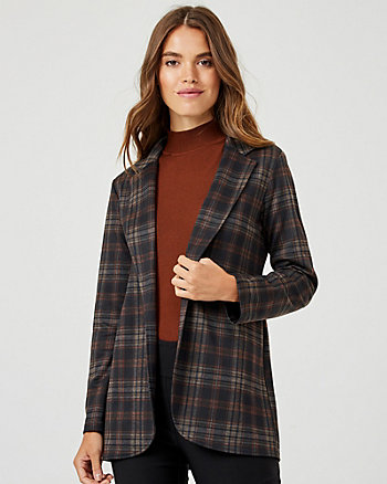 Check Print Ponte Knit Notch Collar Blazer