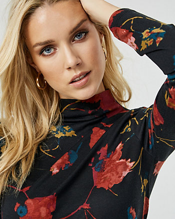 Floral Print Knit Funnel Neck Sweater