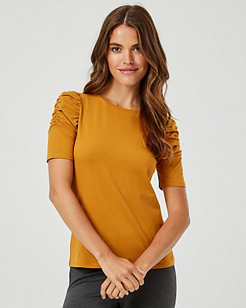 Ruched Cotton Blend Scoop Neck Top
