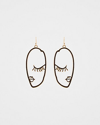 Wink Face Silhouette Drop Earrings