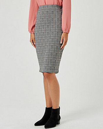 Check Print Double Knit Pencil Skirt