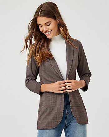 Check Print Jacquard Knit Open-Front Blazer