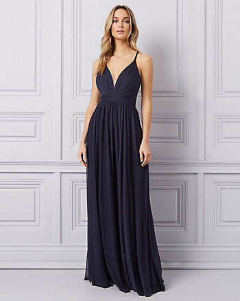 Sheer Knit Deep-V Gown