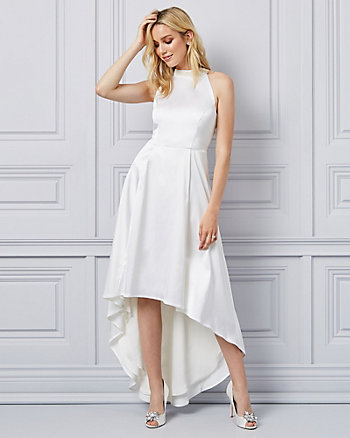 Satin Halter Neck High-Low Gown