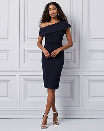 Knit Crêpe One Shoulder Cocktail Dress