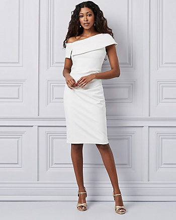 Twill One Shoulder Cocktail Dress