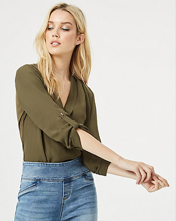 Crêpe de Chine Wrap-Like V-Neck Blouse