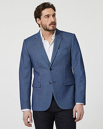 Knit Notch Collar Contemporary Fit Blazer
