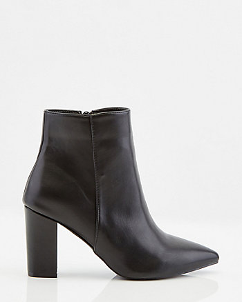Faux Leather Pointy Toe Ankle Boot