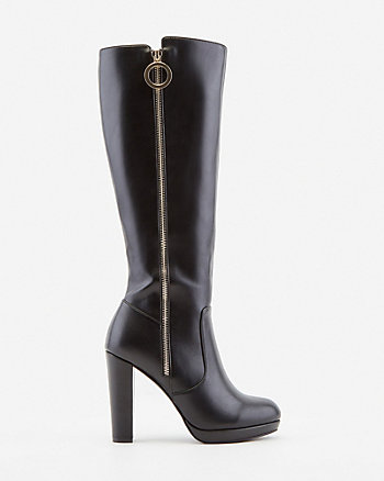Faux Leather Knee-High Platform Boot