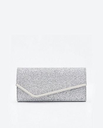 Glitter Asymmetric Flapover Clutch