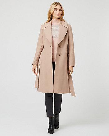 Cashmere-Like Notch Collar Wrap-Like Coat