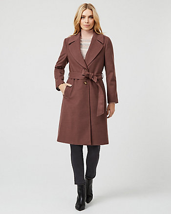 Cashmere-Like Notch Collar Wrap-Like Coat