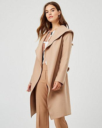 Cashmere-like Hooded Wrap Coat